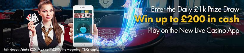 Live Casino App Prize Draw